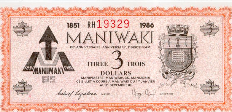 1986 Maniwaki Quebec $3 Trade Note or Script - Airplane
